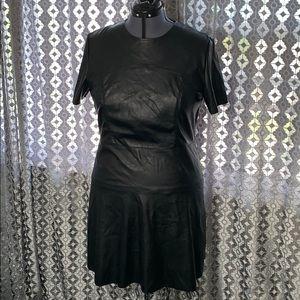 Black Faux Leather Short Sleeve Dress